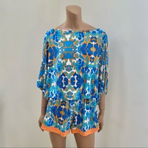 Tata Jolie Boho Blue Orange Printed Romper L